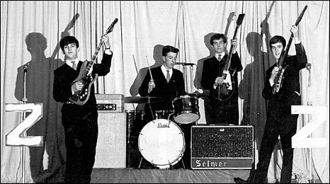 The Zodiacs play the Memorial Hall in Aberdare in December 1964 - Phil Pendry, Peter Lipscombe, Roger Davies and Paul Wyatt