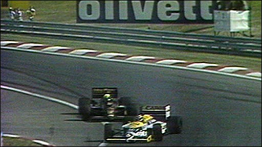 Nelson Piquet gets past Ayrton Senna