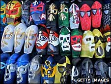 Stacks of Lucha wrestling masks on sale to the public in Tijuana, August 2008