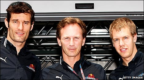Mark Webber, Christian Horner and Sebastian Vettel