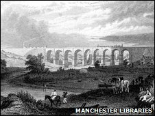 The Sankey Brook valley viaduct in 1830