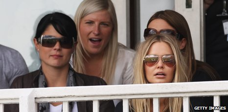 Jessica Bratich (front left) has been watching the Ashes with other Aussie WAGS