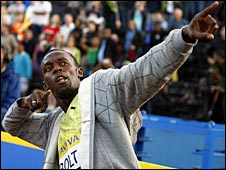 Usain Bolt celebrates after his victory at Crystal Palace
