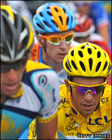 Lance Armstrong, Bradley Wiggins and Alberto Contador