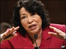 Supreme Court nominee Sonia Sotomayor appears before the Senate Judiciary Committee on 16 July 2009