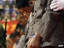 Chinese criminals are sentenced to death in Wenzhou, file image