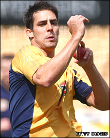Mitchell Johnson in action in the nets for Australia