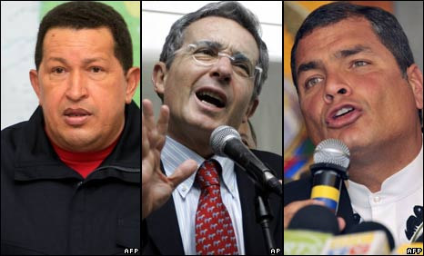 Hugo Chavez (left) Alvaro Uribe (centre) Rafael Correa (right)