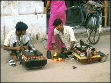 Shoeshine boys in Delhi in 1974