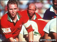 Scott Quinnell in  action in the 1994 tour Test in Samoa