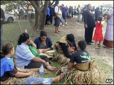 Concerned relatives wait in the Tongan capital for news after the sinking of the ferry