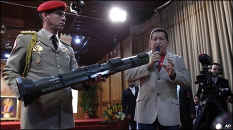 President Chavez shows off a rocket launcher at a news conference on 5 August