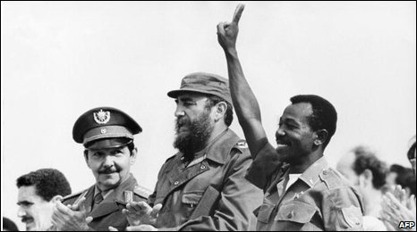 Mengistu Haile Mariam (R) with Raul and Fidel Castro in 1978