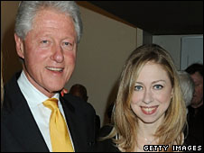 Bill and Chelsea Clinton in New York City, 15 July 2009