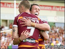 Kevin Brown and Shaun Lunt celebrate the stand-off's try