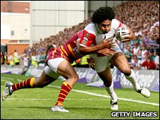 Francis Meli goes through Leroy Cudjoe's tackle to score St Helens' first try