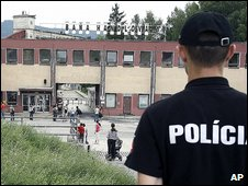 Police outside the coal mine