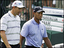 Padraig Harrington (left) and Tiger Woods