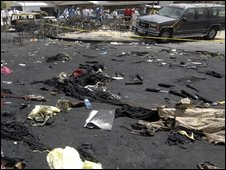 Aftermath of fire at a wedding tent in Kuwait City on 16 August 2009