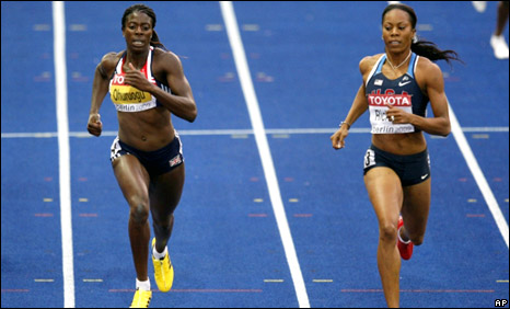 Christine Ohuruogu (left) finishes second behind Sanya Richards in their 400m semi-final