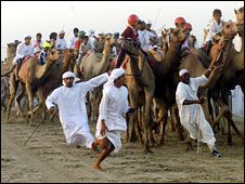 File picture of child jockeys during camel race in UAE