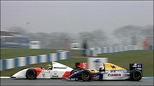 Ayrton Senna passes Alain Prost