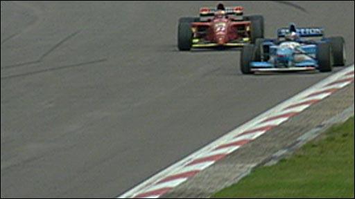 Michael Schumacher passes Jean Alesi