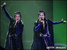 Inga and Anush, of Armenia, performs during the final of the Eurovision Song Contest on 16 May 2009 