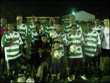 A team of Pohnpei players in Yeovil shirts