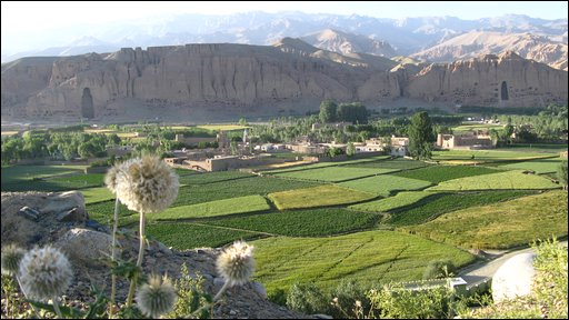 A view of Bamiyan showing where the two Buddha statues once stood