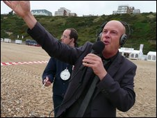 BBC Radio Solent's Julian Clegg (with producer Ed) at last year's festival