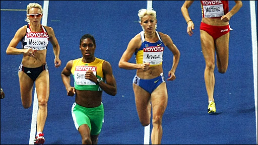 Jenny Meadows (far left) trails winner Caster Semenya (second from left)