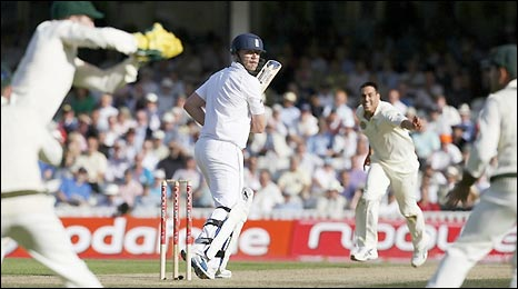 Andrew Flintoff is caught by Australia's Brad Haddin