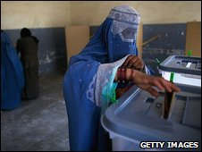 An Afghan women casts her vote in Kabul