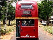 Press bus for tour of Sri Lankan