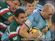 Gareth Thomas is caught in possession