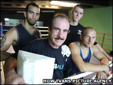 Bradley Pryce, Enzo Calzaghe, Hari Miles and Gavin Rees at the Calzaghe gym