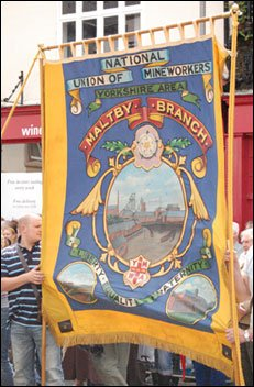 A later parade with the Maltby Miners banner