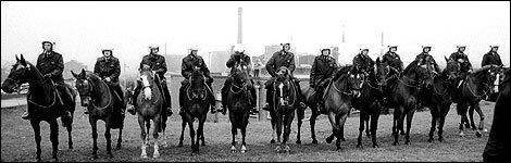Mounted police at Orgreave, June 1984
