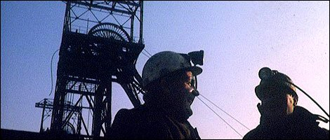Pithead and miners