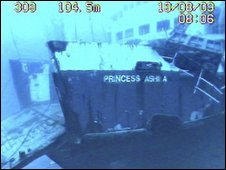 The Princess Ashika, filmed on the ocean floor by the New Zealand navy - 19 August 2009