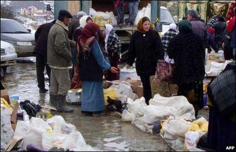 People at a market in the village of Kubachi, Dagestan, file pic from 2007