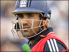Ravi Bopara walks off after he was dismisse for a duck at Old Trafford
