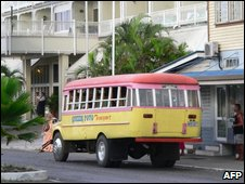 File image of a bus outside a hotel in Samoa