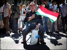 A man in Budapest protests against the new language law affecting the Hungarian minority in Slovakia on 1 September 2009