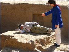 Dr Tarzi and Lyse Doucet at Bamiyan