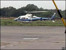 The helicopter carrying Andhra Pradesh Chief Minister YS Rajasekhara Reddy, taking off in Hyderabad, India, Wednesday on 2 September 2009