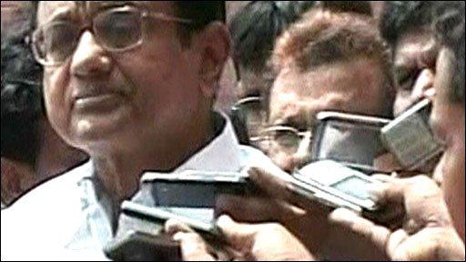 India's home minister, P Chidambaram