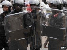 Riot police in Gabon