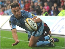 Blues wing Chris Czekaj was fortunate to be awarded his try